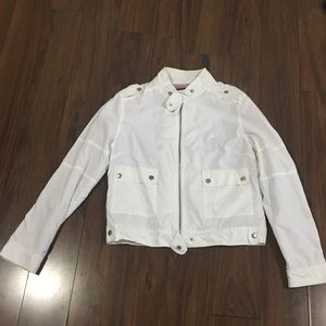 White Bebe Sport jacket with lilac terry lining